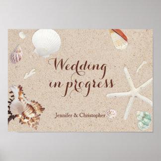 Seashells & Starfish Beach Wedding in Progress Poster