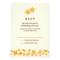 Seashells & Starfish Beach Wedding RSVP Custom Invites