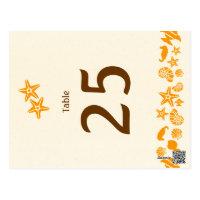 Seashells & Starfish Beach Wedding Table Number Post Cards