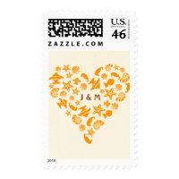 Seashells & Starfish Heart Beach Wedding Postage Stamps