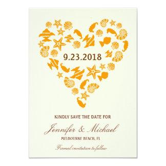 Seashells & Starfish Heart Save the Date Invite
