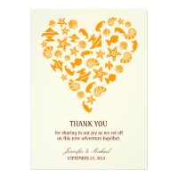 Seashells & Starfish Heart Thank You Announcement
