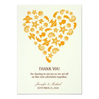 Seashells & Starfish Heart Thank You Announcement