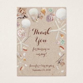 Seashells & Starfish on the Beach Thank You Business Card