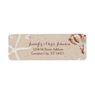 Valentines Themed Seashells & Starfish on the Beach Wedding Address Label