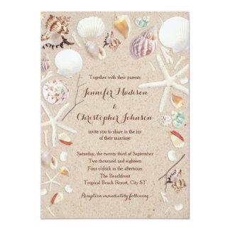 Seashells & Starfish on the Beach Wedding Card