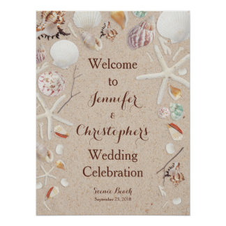 Seashells & Starfish on the Beach Wedding Poster