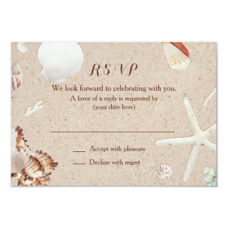 Seashells & Starfish on the Beach Wedding RSVP Card