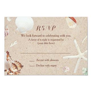 Seashells & Starfish on the Beach Wedding RSVP Custom Invites