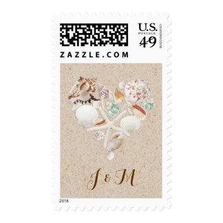 Seashells & Starfish on the Beach Wedding Stamps