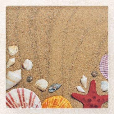 Beach Themed Seashells Starfish Sandy Beach Glass Coaster