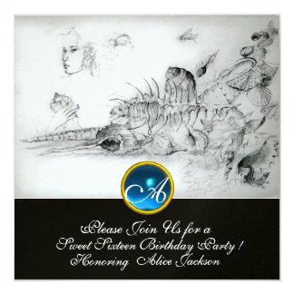 SEASHELLS SWEET SIXTEEN PARTY Sapphire Monogram Card