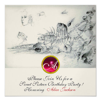 SEASHELLS SWEET SIXTEEN ,Ruby Monogram Champagne Card