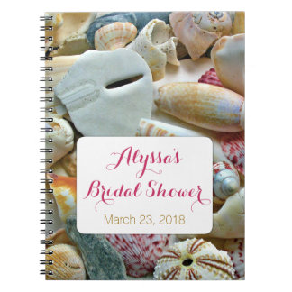 Seashells Tropical Bridal Shower Guest Book Spiral Notebooks