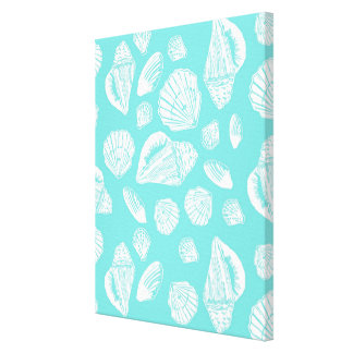 "Seashells Turquoise 16"" x 20"" Wrapped Canvas"
