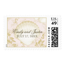 Seashells Vintage Beach Blush Postage