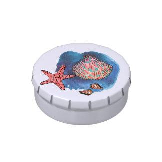 Seashells y estrellas de mar latas de caramelos