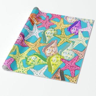 Seashells y estrellas de mar papel de regalo