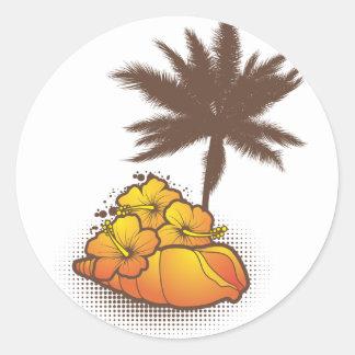 seashells y naranja del palmtree 4 pegatina redonda