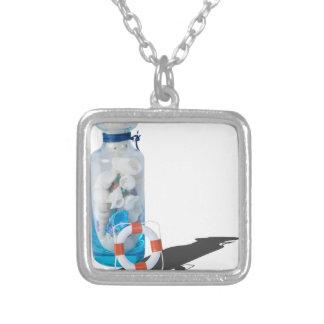 SeashellsJarLifePreservers090615 Square Pendant Necklace
