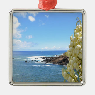Seashore and Yucca Flowers In Bloom Metal Ornament