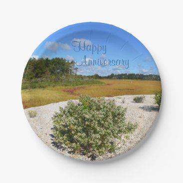 Beach Themed Seashore Anniversary Paper Plate