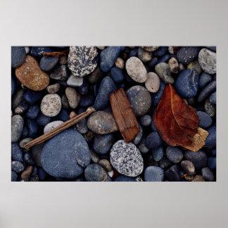Seashore beach stones poster