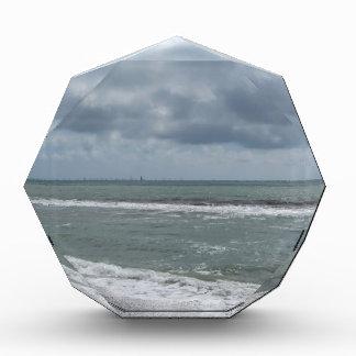 Seashore of Marina di Pisa beach with sailboats Acrylic Award