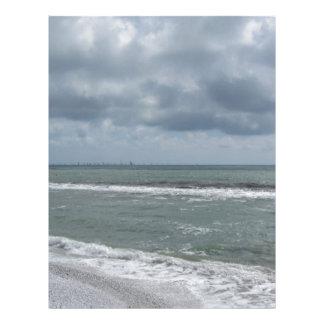 Seashore of Marina di Pisa beach with sailboats Letterhead