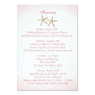 Seashore Pink Hydrangea Wedding Intinerary Card