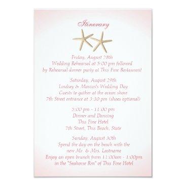 happygotimes Seashore Pink Hydrangea Wedding Intinerary Card