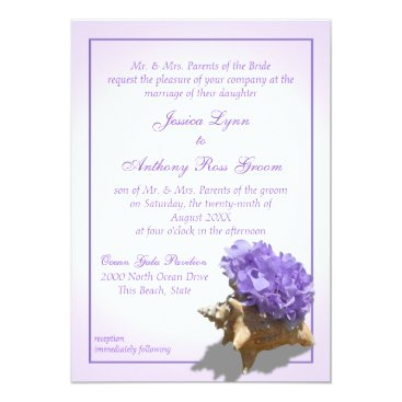Beach Themed Seashore Purple Hydrangea Wedding Card