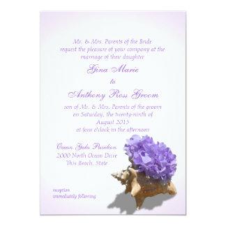 Seashore Purple Hydrangea Wedding Card