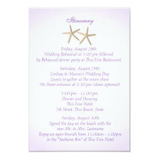 Seashore Purple Hydrangea Wedding Intinerary Custom Announcement