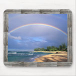 seashore rainbow mousepad with barnwood frame