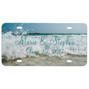 Seashore Seascape Waves Beach Wedding Personalized License Plate at Zazzle