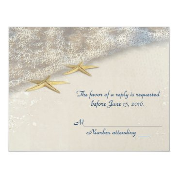 Beach Themed Seashore Starfish RSVP Card