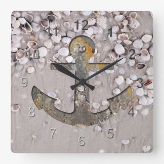 Seaside Anchor Square Wall Clock