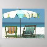 Seaside Beach, Chairs & Umbrella Poster
