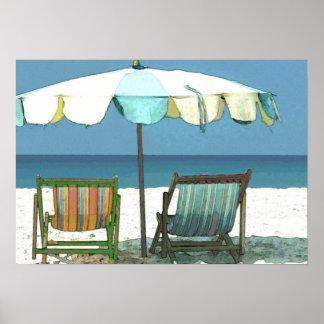 Seaside Beach, Chairs & Umbrella Print