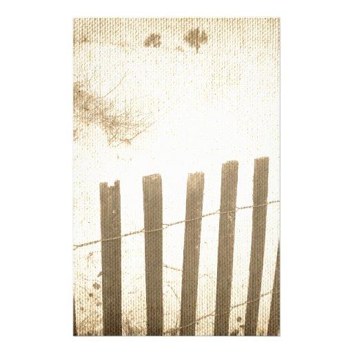 Seaside beach fence stationery design