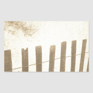 Seaside beach fence rectangle stickers