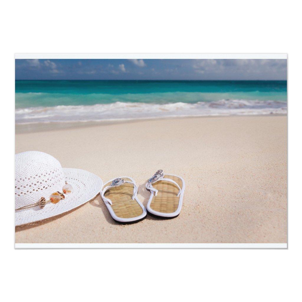 SEASIDE BEACH FLIPFLOPS HAT VACATION OCEAN blue f Card