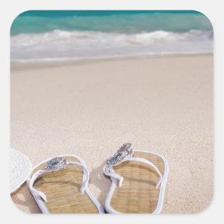 SEASIDE BEACH FLIPFLOPS HAT VACATION OCEAN  blue f Square Sticker