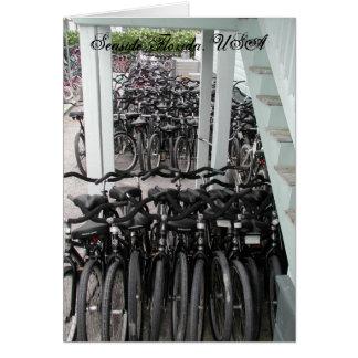 Seaside bicycles greeting card