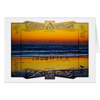 Seaside Birds Soaking in Orange Light at Waters Ed Card