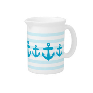 Seaside Blue Anchors and Pale blue Sailor Stripes Drink Pitcher