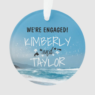 Seaside - Blue Beach Wedding / Engagement Ornament