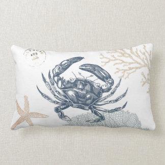 Seaside Blue Crab Collage Light Lumbar Pillow