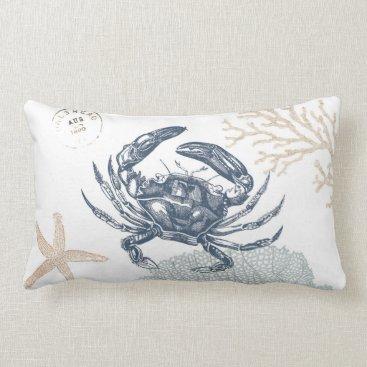 Beach Themed Seaside Blue Crab Collage Light Lumbar Pillow